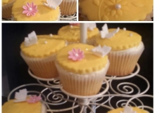 Scrumptious sensational lemon sponge infused with lemon curd icing with lemon buttercream & fondant topper decorated with edible Handmade Butterflies & roses.