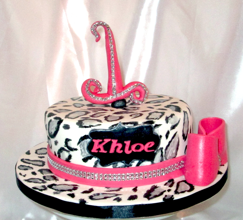 Astounding Leopard Print 1St Birthday Cake Sensational Cakes Funny Birthday Cards Online Amentibdeldamsfinfo