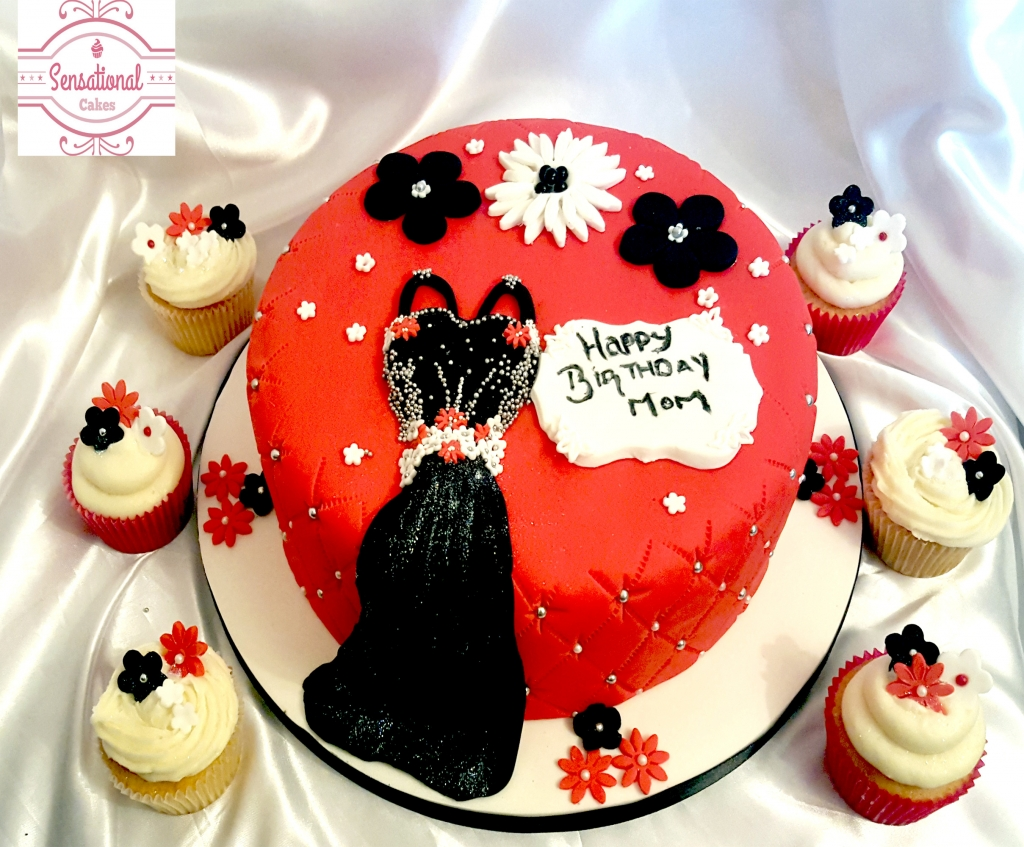 dress cake with cupckaes 1024x847 Custom Birthday Cakes Tucson