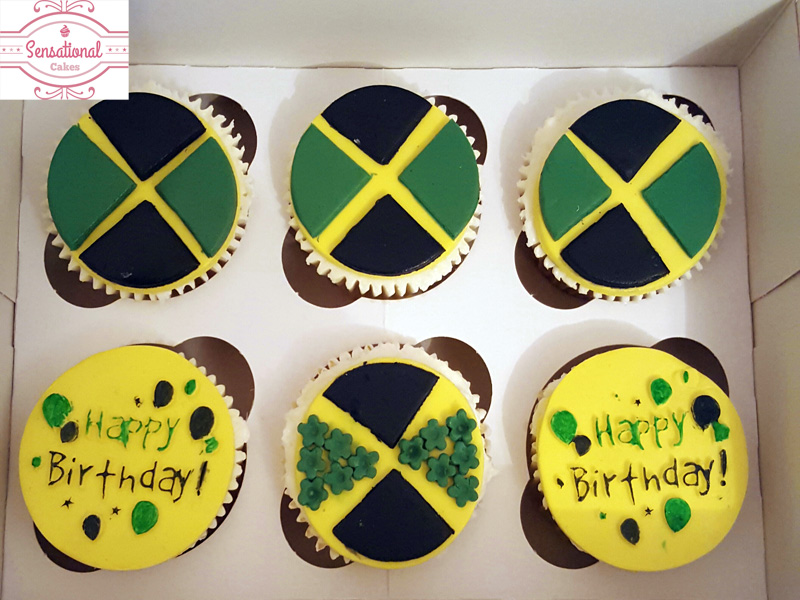 Cool Jamaican Flag Cupcakes Sensational Cakes Funny Birthday Cards Online Overcheapnameinfo