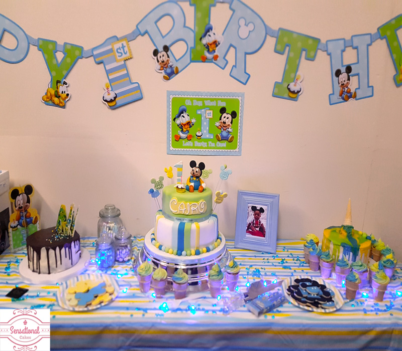 Amazing 1St Birthday Baby Mickey Mouse Cake Sensational Cakes Personalised Birthday Cards Veneteletsinfo