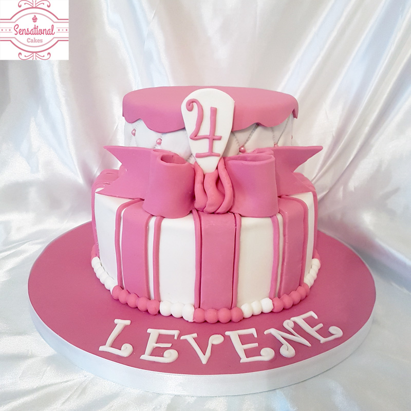 Pleasing Pink White Girls 4Th Birthday Cake 2 Tier Sponge Cake Funny Birthday Cards Online Fluifree Goldxyz