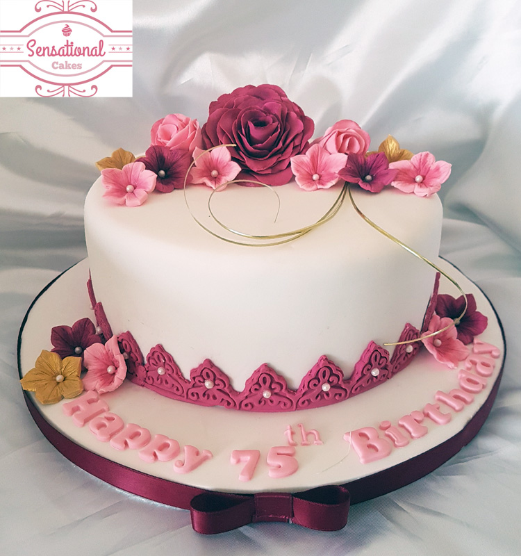 Fantastic 75Th Birthday Cake With Gumpaste Flowers Personalised Birthday Cards Sponlily Jamesorg