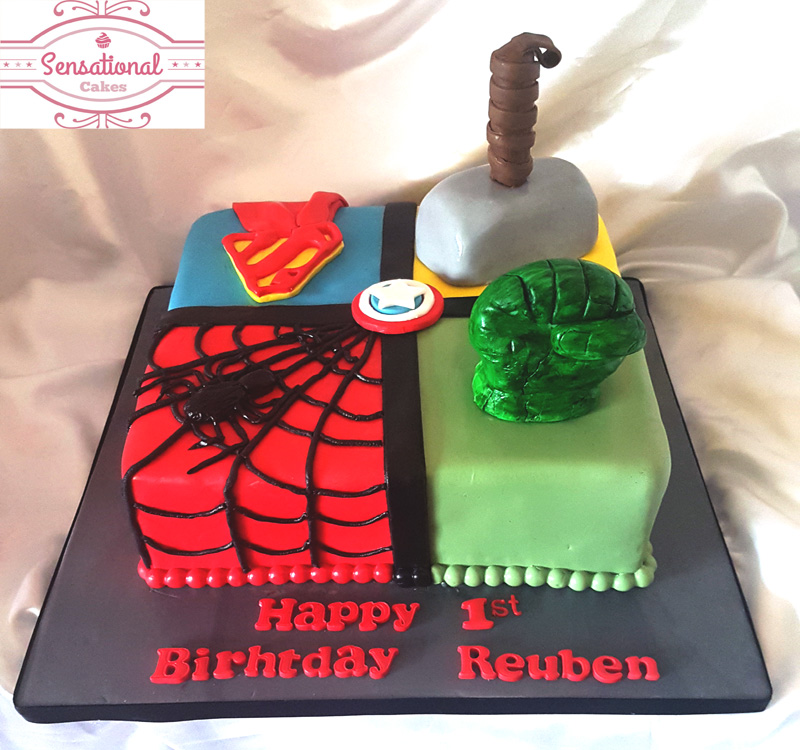 Magnificent Superheros Hulk Captain America Spiderman Superman Birthday Cake Funny Birthday Cards Online Bapapcheapnameinfo