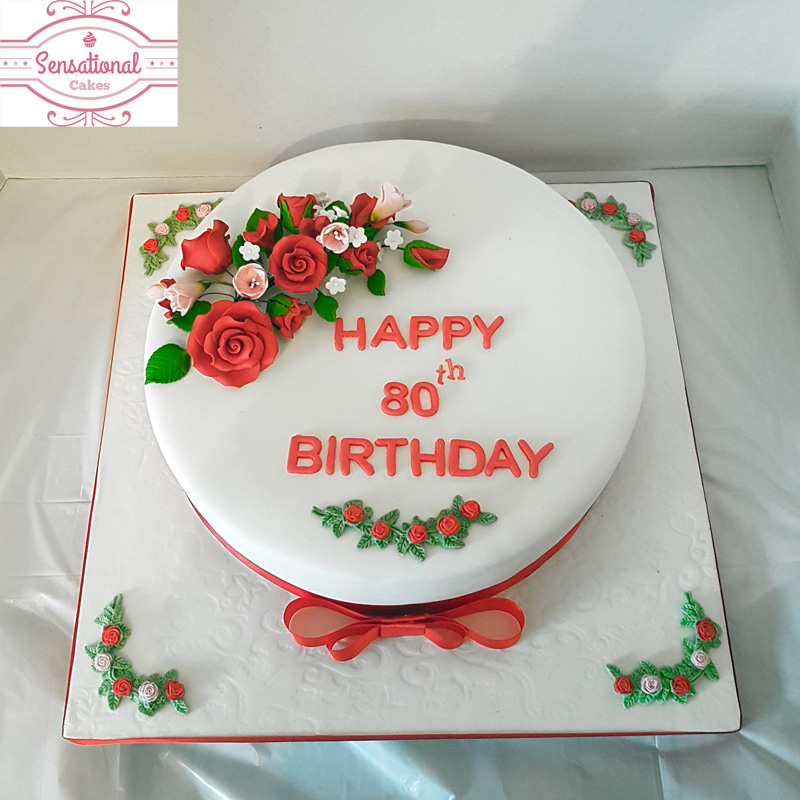 Phenomenal Red Rose 80Th Birthday Cake Sensational Cakes Funny Birthday Cards Online Alyptdamsfinfo
