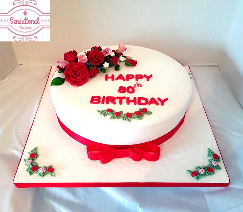 Astounding 80Th Birthday Cake Red White Sensational Cakes Personalised Birthday Cards Veneteletsinfo