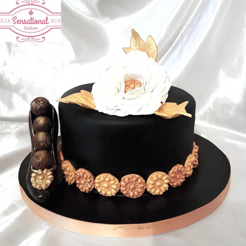 Terrific Black And Gold Birthday Cake Sensational Cakes Funny Birthday Cards Online Fluifree Goldxyz