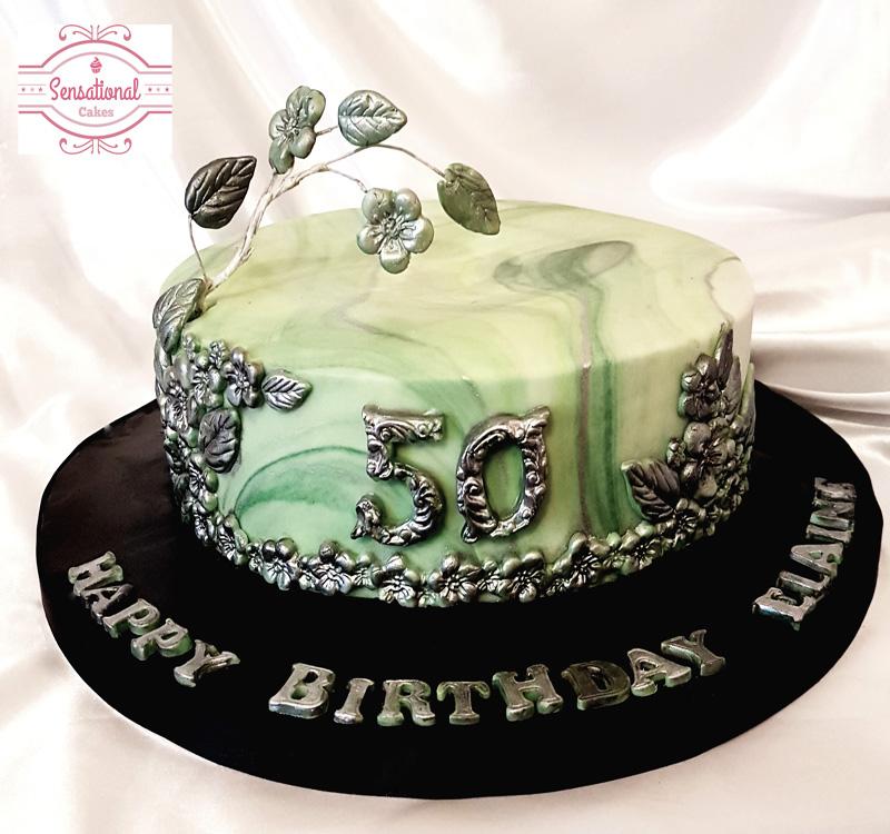 Surprising Green Marbled 50Th Birthday Cake Sensational Cakes Personalised Birthday Cards Epsylily Jamesorg