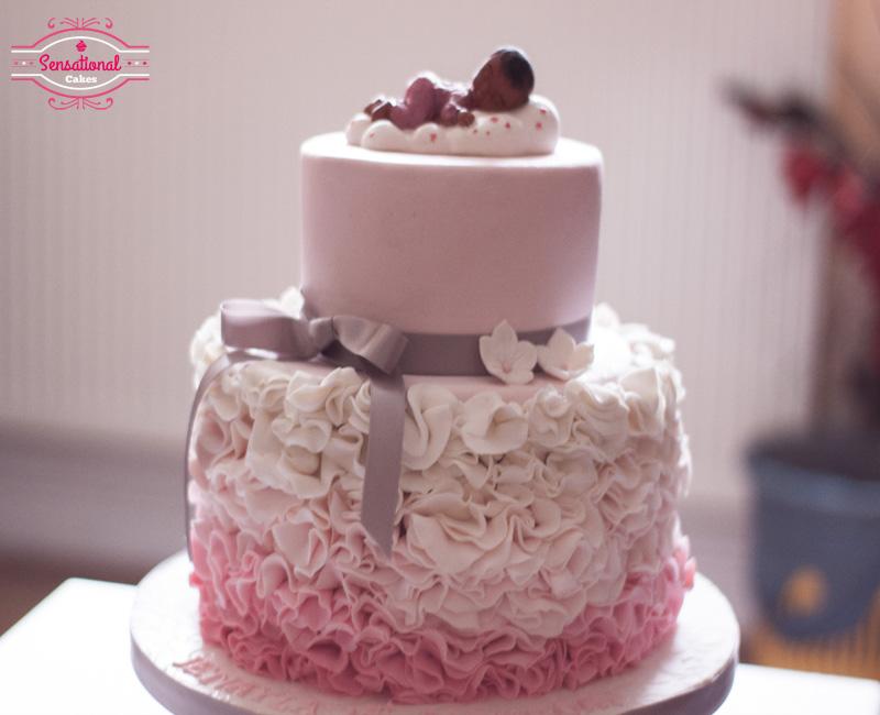 Prime Girls 1St Birthday Pink Ombre Cake Sensational Cakes Birthday Cards Printable Opercafe Filternl