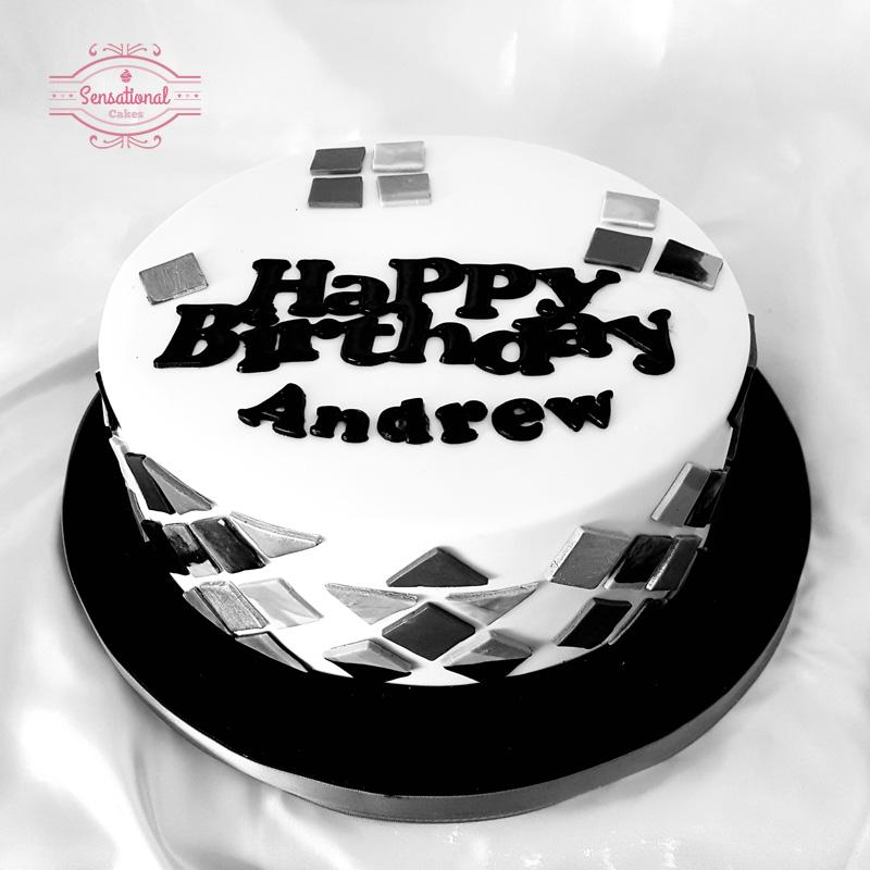 Astonishing Black And White Geometric Mens Birthday Cake Sensational Cakes Personalised Birthday Cards Paralily Jamesorg