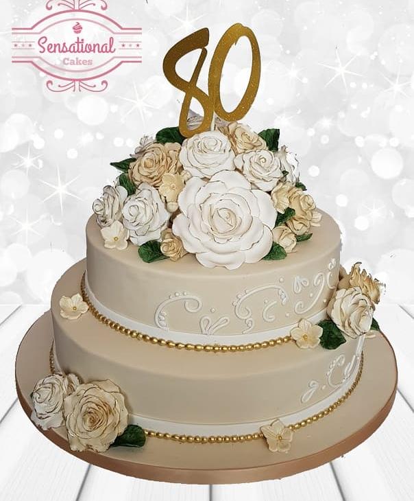Excellent 80Th Birthday Cake 2 Tier Flowers Sensational Cakes Funny Birthday Cards Online Alyptdamsfinfo