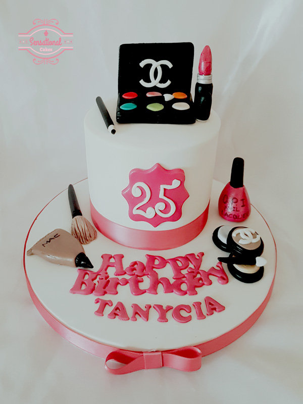 Pleasing Makeup 25Th Birthday Cake Sensational Cakes Funny Birthday Cards Online Alyptdamsfinfo