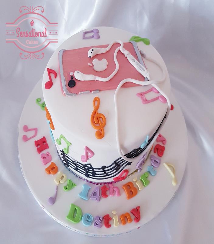 Peachy Iphone And Music Themed Birthday Cake Sensational Cakes Birthday Cards Printable Benkemecafe Filternl